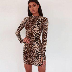 💋Long Sleeve Cheetah Print Bodycon Sheath Dress